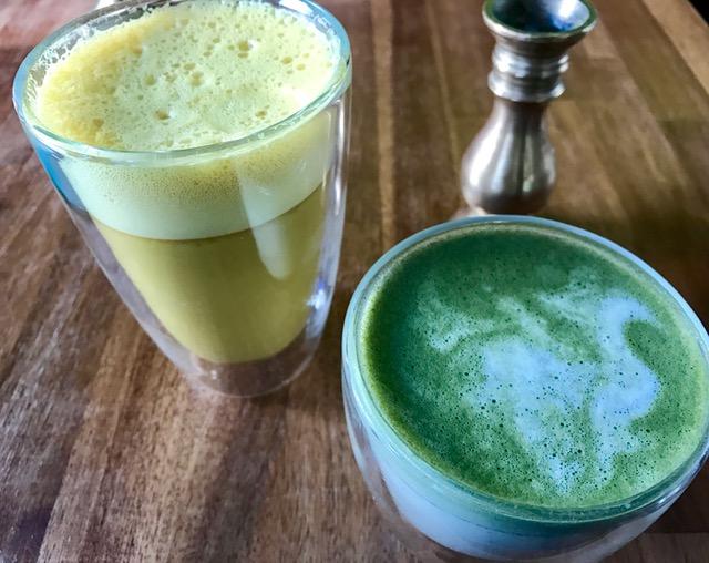 golden milk and matcha latte