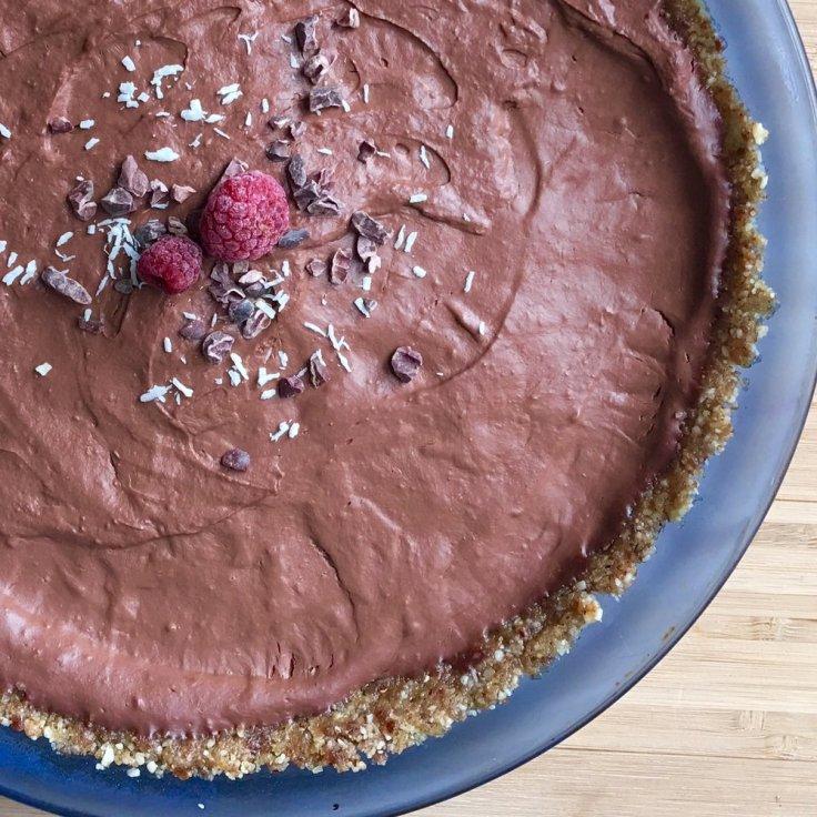 Vegan Chocolate Raspberry Cream Pie