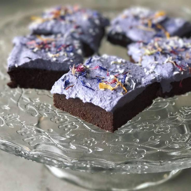 blueberry lavender brownies by Kristine Thomas of Welli - www.getWElli.com - grain free, vegan, paleo