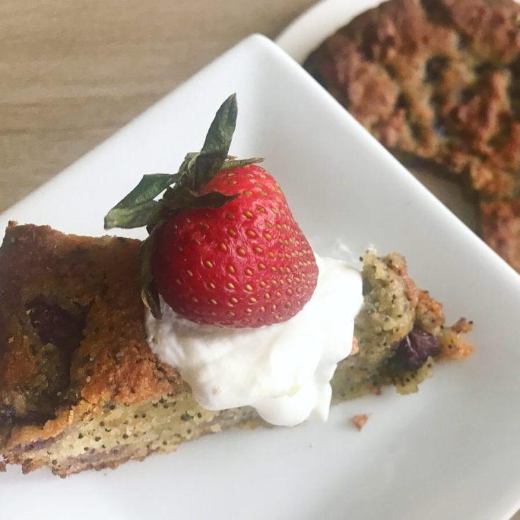 Lemon and Blueberry Poppyseed Cake - www.JoyfulGoodness.com - #vegan #paleo #glutenfree #grainfree #JoyfulGoodness #beJoyful #cake #easter