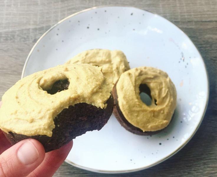 Chocolate Peanut Butter Protein Doughnuts - www.JoyfulGoodness.com - #JoyfulGoodness #beJoyful #protein #grainfree #vegan #paleo #antiinflammatory #chocolate #peanutbutter #doughnuts