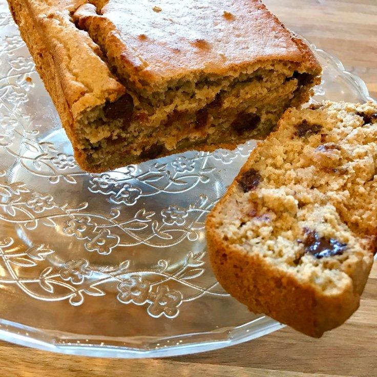 Chocolate chip peanut butter banana bread cake- gluten free, vegan, sugar free, flourless