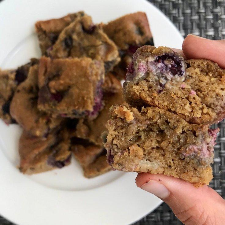 PB and Berry Blondies | www.JoyfulGoodness.com | gluten free | healthy | recipe | vegetarian
